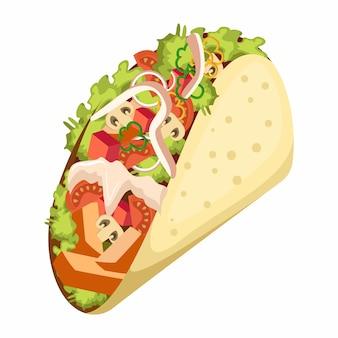 Ilustração em vetor taco mexicano