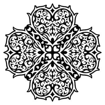 Ilustração em vetor tatuagem tribal monocromática bonita com padrão abstrato preto isolado com formas de coração