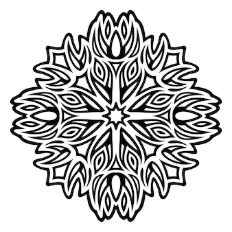 Ilustração em vetor tatuagem tribal monocromática bonita com padrão preto abstrato isolado no fundo branco