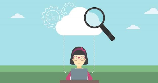Ilustração em vetor tecnologia computação em nuvem.