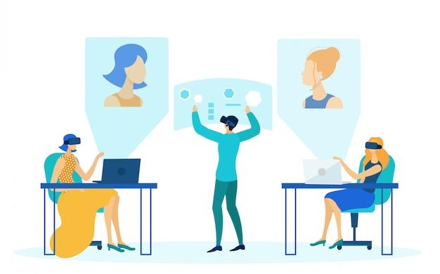 Ilustração em vetor tecnologia escritório futurista