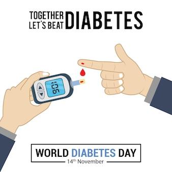 Ilustração em vetor teste de açúcar no sangue para design de pôster de conscientização do dia do diabetes