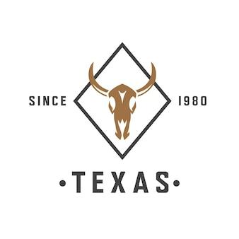 Ilustração em vetor texas de caveira de touro