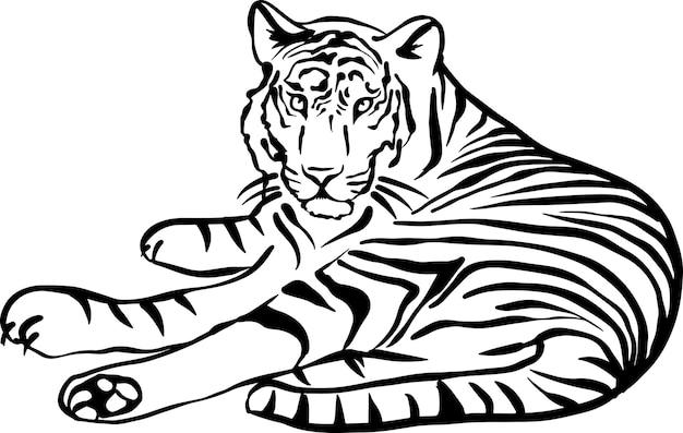 Ilustração em vetor tigre preto e branco simples esboço