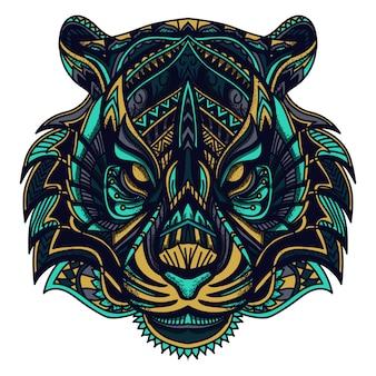 Ilustração em vetor tigre zentangle