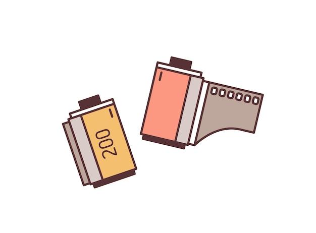 Ilustração em vetor tira de filme de 35 mm. elemento de design colorido de equipamento fotográfico. retro fotografia, cinematografia, cinema e multimídia. tira de filme negativo isolada no fundo branco.