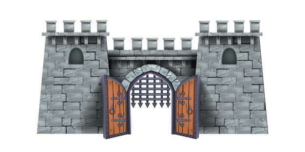 Ilustração em vetor torre de castelo antigo pedra medieval cartoon fortaleza de madeira porta da cidade aberta grelha