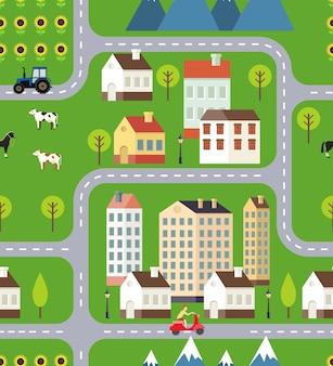 Ilustração em vetor town field mountain