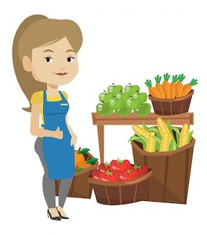 Ilustração em vetor trabalhador supermercado amigável.