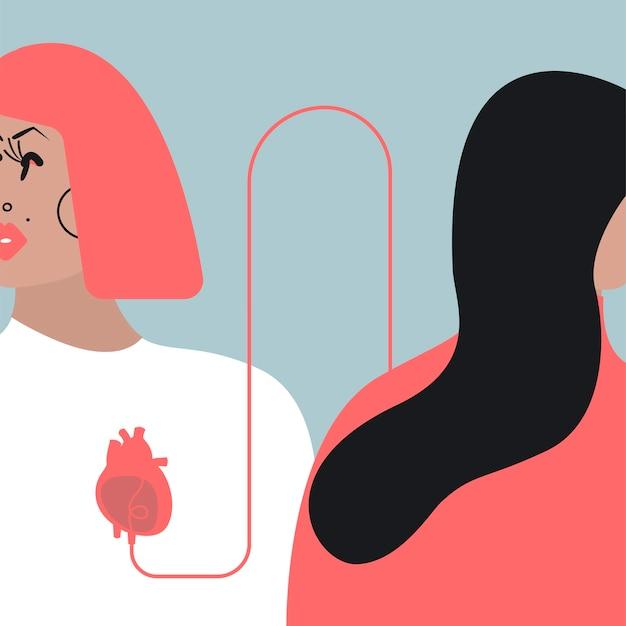 Ilustração em vetor transfusão de sangue colorido