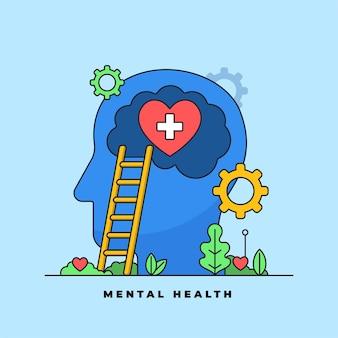 Ilustração em vetor tratamento psicologia médica e saúde mental