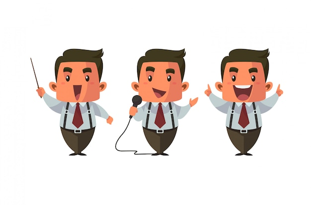 Ilustração em vetor treinador vocal personagem bonito