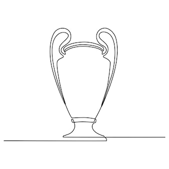 Ilustração em vetor troféu campeão desenho de linha contínua