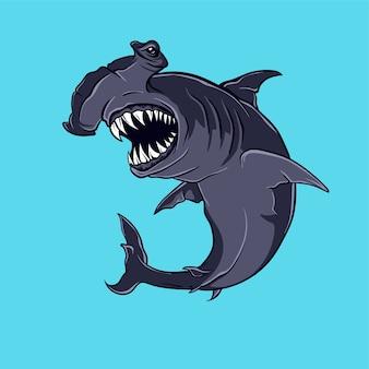 Ilustração em vetor tubarão martelo