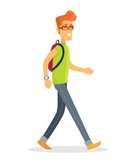 Ilustração em vetor turista pedestre de menino