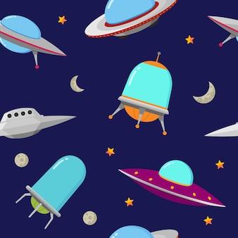 Ilustração em vetor ufo seamless pattern