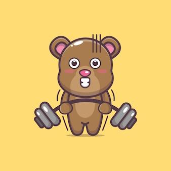 Ilustração em vetor urso bonito levantando barra