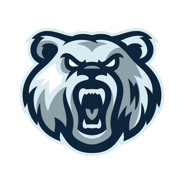 Ilustração em vetor urso mascote logotipo modelo