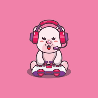 Ilustração em vetor urso polar jogador fofo