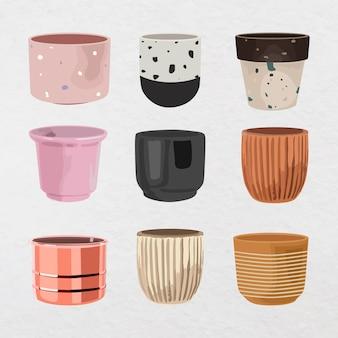 Ilustração em vetor vaso de cerâmica para planta de interior