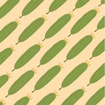 Ilustração em vetor vegetal de fundo com padrão de pepino