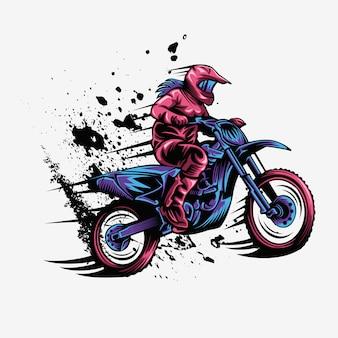 Ilustração em vetor velocidade motocross respingo feminino