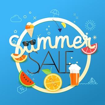 Ilustração em vetor venda verão. conceito de venda temporada