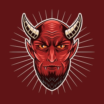 Ilustração em vetor vermelho cabeça diabo
