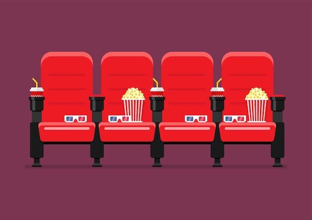 Ilustração em vetor vermelho cinema cadeiras