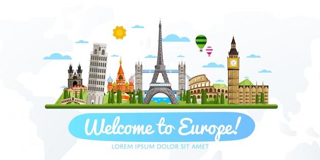 Ilustração em vetor viagens e turismo.
