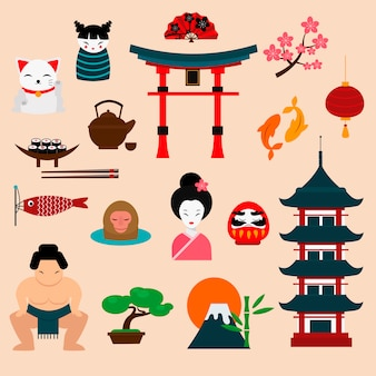 Ilustração em vetor viagens japão