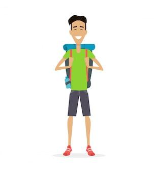 Ilustração em vetor viajante caminhante