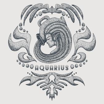Ilustração em vetor vintage aquarius