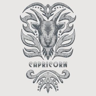 Ilustração em vetor vintage capricórnio