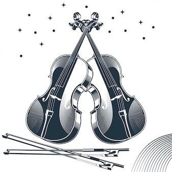 Ilustração em vetor vintage de violino clássico