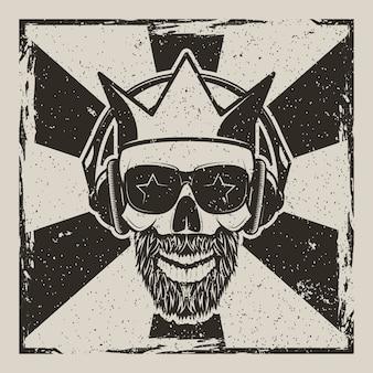 Ilustração em vetor vintage estrela do rock grunge