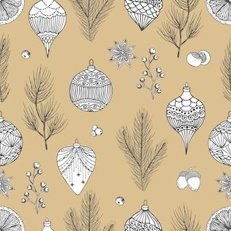 Ilustração em vetor vintage natal. padrão sem emenda com cones de mão desenhada, árvore de natal, bola de natal.