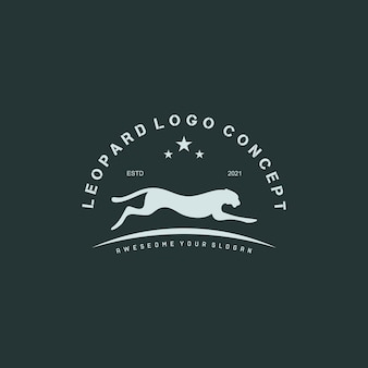 Ilustração em vetor vintage run leopard logo