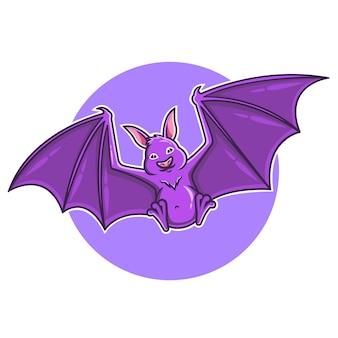 Ilustração em vetor voador desenho de morcego roxo fofo