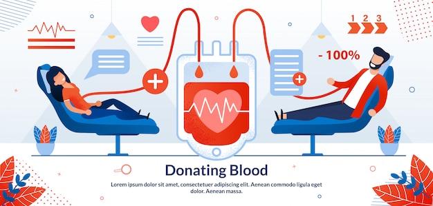 Ilustração em vetor voluntário doar sangue