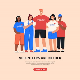 Ilustração em vetor voluntário plana.
