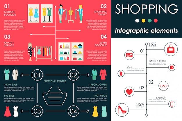 Ilustração em vetor web infográfico centro comercial plana