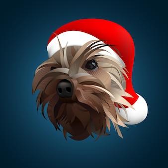 Ilustração em vetor yorkshire terrier ano novo
