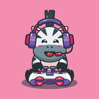 Ilustração em vetor zebra game cartoon
