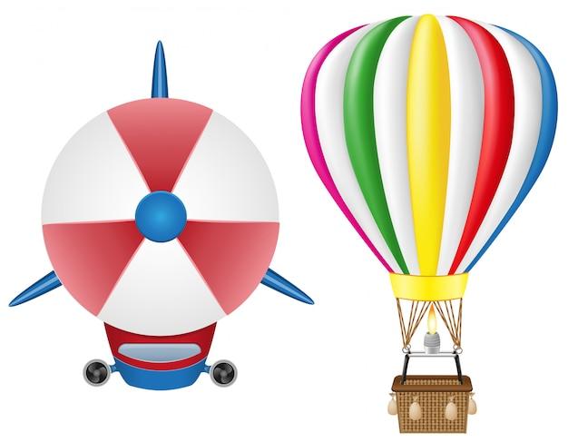 Ilustração em vetor zepelim dirigível e balão de ar quente