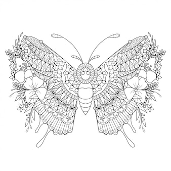 Ilustração em zentangle de mandala de borboleta em estilo lineal