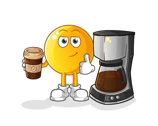 Ilustração emoticon bebendo café