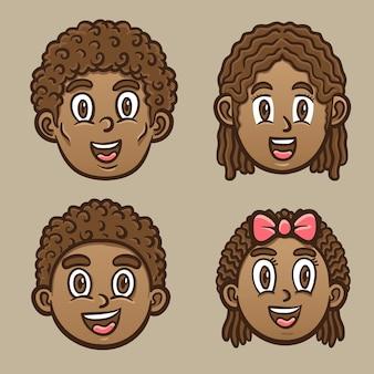 Ilustração emoticon de crianças negras felizes e personagem adulto