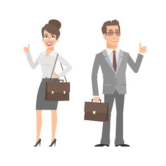Ilustração, empresário e mulher de negócios mostrando os polegares para cima, formato eps 10