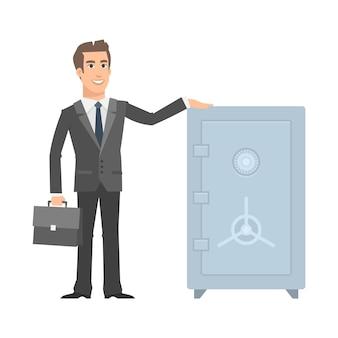 Ilustração, empresário em pé perto de segurança e sorrindo, formato eps 10
